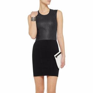 HELMUT Gala Leather Knit Ponte Tank Dress Small